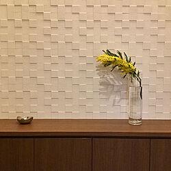 花のある暮らし/ミモザ/靴箱/エコカラット/玄関/入り口のインテリア実例 - 2020-03-17 16:19:48