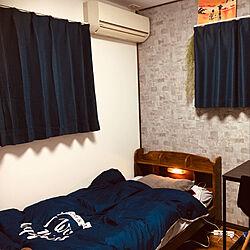 ダイソーのシーツ/ネイビーが好き/2段ベッド分割使用/ヘルシーカラー/4.5畳の子供部屋...などのインテリア実例 - 2020-12-02 22:49:21