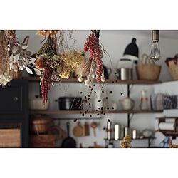 壁/天井/キッチン棚/ドライフラワー好き/ドライフラワーのある暮らし/キッチンインテリア...などのインテリア実例 - 2018-10-28 20:37:28