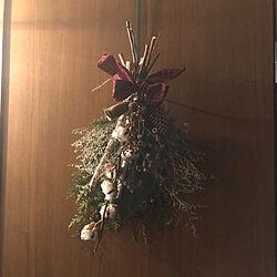 玄関/入り口/DIY/クリスマス/クリスマスリース/アイアン...などのインテリア実例 - 2017-12-04 21:34:35