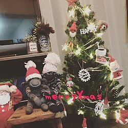 リメ缶/クリスマスツリー/ソックモンキー/100均/雑貨...などのインテリア実例 - 2015-12-25 14:46:56