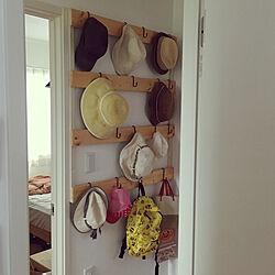 壁/天井/帽子掛け DIY/帽子収納/壁にかける/ぼうしかけ...などのインテリア実例 - 2017-09-16 15:56:32
