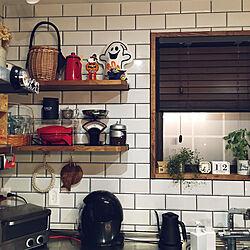 キッチン/カルディ/L型 キッチン/タイル張り/壁面ディスプレイ...などのインテリア実例 - 2018-10-12 20:43:27
