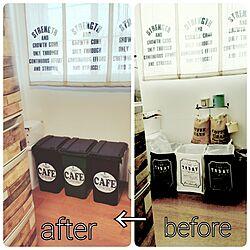 キッチン/before→after/ゴミ箱リメイク/冷蔵庫リメイク/ロールカーテン...などのインテリア実例 - 2017-01-27 17:28:50