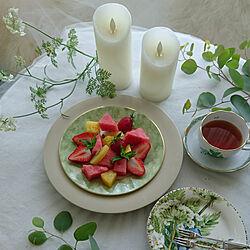 部屋全体/花のある空間/10時のおやつ/フルーツが好き/LEDキャンドル...などのインテリア実例 - 2020-06-04 11:48:46