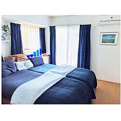 IKEAベッドカバー/IKEA シーツ/ブルーの落ち着く寝室/ブルーの寝室/シンプルモダン...などのインテリア実例 - 2020-05-22 21:43:06