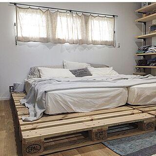 女性家族暮らし、ニトリ すのこベッドBedroomやベッドや寝室やすのこなどに関するmanataroさんの実例写真