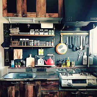 25歳の同棲1LDK、diy 壁Kitchenや麻ヒモや有孔ボードや賃貸などに関するecoさんの実例写真