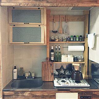 女性一人暮らし1R、キッチン diyKitchenや1Rやワンルームや一人暮らしなどに関するcherry-blossomさんの実例写真