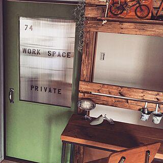 バス/トイレ/グリーン/引き戸DIY/引き戸/板壁DIY...などのインテリア実例 - 2016-08-01 20:38:04