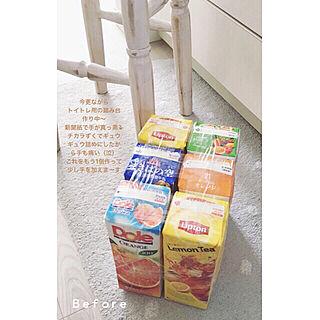 女性38歳の家族暮らし3LDK、手作り牛乳パック椅子に関するyukinyanさんの実例写真