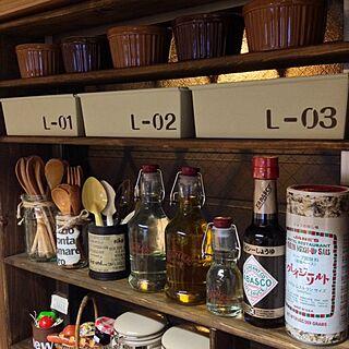 棚/リメ缶/パウンドケーキ型/セリア/DIY...などのインテリア実例 - 2014-02-10 18:30:20