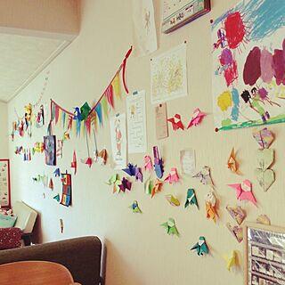 壁/天井/子供部屋/ちらかし放題/子供の工作/なんとかしたい壁...などのインテリア実例 - 2014-04-14 15:39:04
