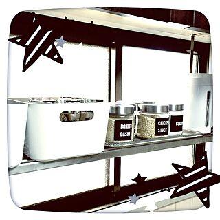 キッチン/自作ラベル/ニトリ/IKEA/吊棚...などのインテリア実例 - 2016-02-10 07:50:00