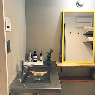 バス/トイレ/#黄色い鏡/#黄色/#グレーインテリア/#グレー...などのインテリア実例 - 2018-01-11 00:33:43