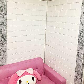 壁/天井/ホワイトインテリア/発泡スチロールのレンガ壁/和室を洋室に /DIY...などのインテリア実例 - 2017-04-30 19:03:52