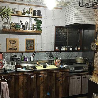 キッチン/しかも料理中/片付いてない/セリアリメイクシート/DIY/ダイソー...などのインテリア実例 - 2016-07-04 07:38:48