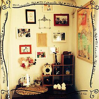女性44歳の家族暮らし4LDK、子どもの絵や写真に関するpiggyさんの実例写真