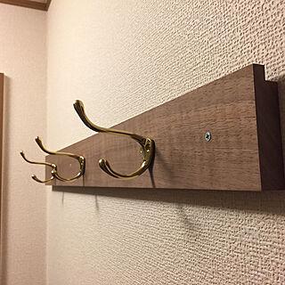 玄関/入り口/真鍮フック/無垢材/ハンドメイド/Brass...などのインテリア実例 - 2017-09-02 23:52:42