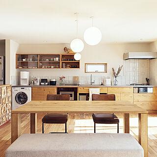 キッチン/リノベ/ミーレ洗濯機/食器棚/無垢の家具...などのインテリア実例 - 2020-07-20 07:18:50
