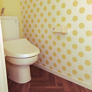 バス/トイレ/2階トイレ/ヘリンボーン/黄色い壁/水玉の壁紙...などのインテリア実例 - 2018-11-13 13:42:27