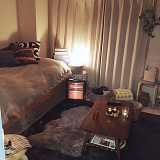 女性一人暮らし1K、コストコムートンラグに関するsariさんの実例写真