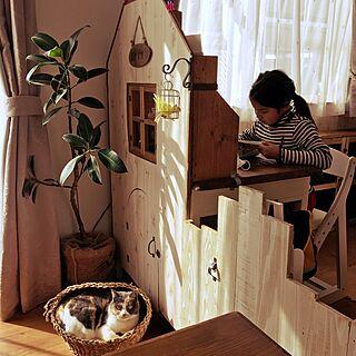 机/子供が喜ぶ学習机/ドアDIY/学習机/猫のいる日常...などのインテリア実例 - 2017-03-05 08:05:30