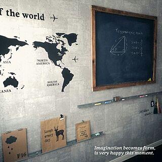 壁/天井/squ+/世界地図/子供部屋/黒板DIY...などのインテリア実例 - 2015-08-31 09:08:05