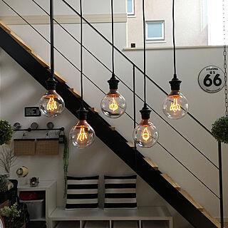 エジソン電球LED/多灯吊り/多灯照明/照明 IKEA/ダイニング吹き抜け...などのインテリア実例 - 2019-03-28 09:15:30