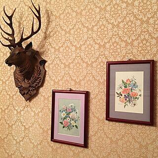 女性家族暮らし、鹿の壁掛けに関するakekuroankoさんの実例写真