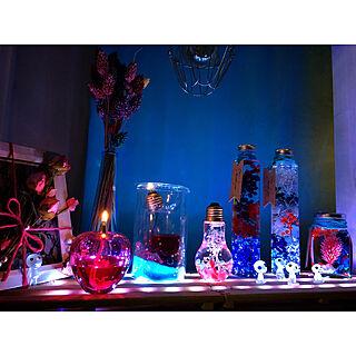 部屋全体/Blue&Pink/空き瓶/ドライフラワー/ハーバリウム...などのインテリア実例 - 2017-09-17 22:57:15