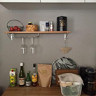 キッチン/foglinenwork/コーヒーフィルターホルダー/ワイングラスホルダー/ウォールシェルフDIY...などのインテリア実例 - 2018-06-14 08:10:21