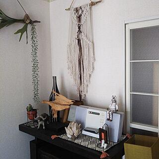 女性一人暮らし2DK、流木タペストリーに関するringoさんの実例写真