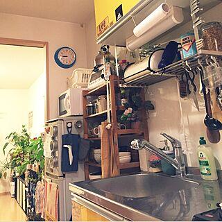 キッチン/冷蔵庫/食器棚/3COINS/一人暮らし...などのインテリア実例 - 2015-06-22 20:54:35