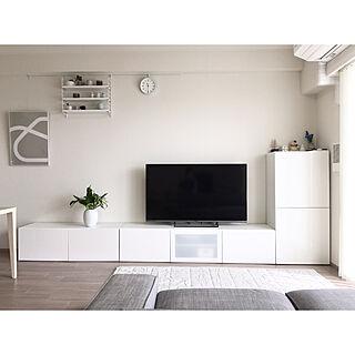 リビング/IKEA BESTA/テレビボード/ホワイト×グレー/北欧ディスプレイ...などのインテリア実例 - 2018-02-10 21:06:14