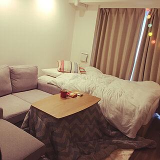 一人暮らし1K、ダブルベッドに関するmugi.000202さんの実例写真