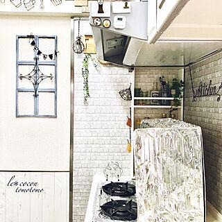 キッチン/壁紙はサンゲツ/フェイクグリーン/油汚れ防止シート/棚DIY...などのインテリア実例 - 2017-01-25 06:35:23
