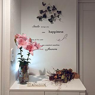 玄関/入り口/ゆり/ピンクのゆりの花/ドライフラワー/いつも見てくださってありがとう...などのインテリア実例 - 2020-06-15 19:42:32