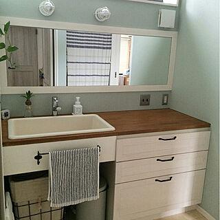女性34歳の家族暮らし4LDK、造作洗面化粧台に関するmamemackhamさんの実例写真