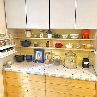 女性54歳の家族暮らし4LDK、キッチン後ろのカウンターに関するsuzyさんの実例写真