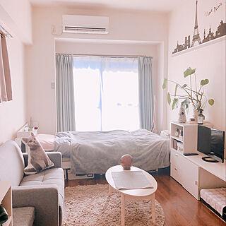 部屋全体/ホワイト×グレー/ベッド/ひとり暮らしインテリア/1K 7畳...などのインテリア実例 - 2019-01-04 13:13:29