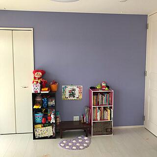 部屋全体/次女の部屋/子供部屋/アクセントクロス/ラベンダー色の壁...などのインテリア実例 - 2018-09-19 23:38:50