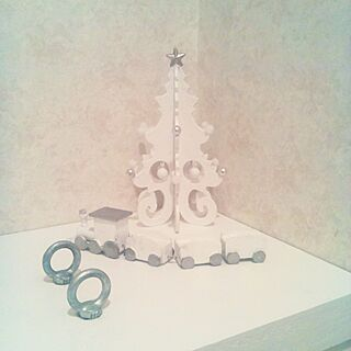クリスマス/2016.12.20♥/3coins⇒ツリーホワイト化♥/3coins⇒汽車ホワイト化♥/●主人のDIY●...などのインテリア実例 - 2016-12-20 22:30:01