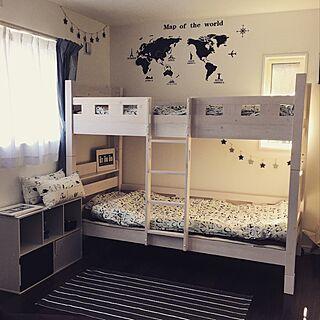 ベッド周り/二段ベッド/ウォールステッカー/IKEA/セリア...などのインテリア実例 - 2015-09-27 00:30:50