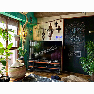 サウンドバー/ガス管テレビボード/ミントグリーンの壁/蓋つきバスケット/aiaiちゃんのクロス...などのインテリア実例 - 2020-01-23 08:12:22