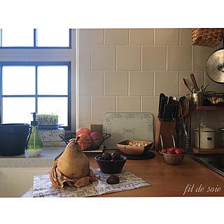 キッチン/2017.11.1/吊り下げ収納/タイル壁/格子窓DIY...などのインテリア実例 - 2017-11-01 23:28:13