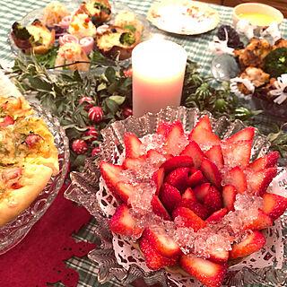 机/手作りディナー/おうちクリスマス/クリスマステーブルコーディネート/クリスマスディナー...などのインテリア実例 - 2017-12-24 22:16:21