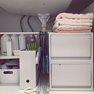 バス/トイレ/突っ張り棒/IKEA/ポリプロピレン収納/ファイルボックス...などのインテリア実例 - 2017-04-05 00:24:41