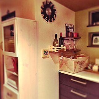 、落ちワタふきんリメイク ニトリの食器棚に関するさんの実例写真