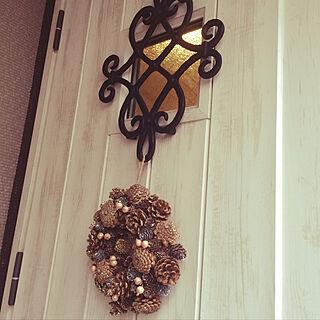 玄関/入り口/秋/リース/アンティーク/木が好き...などのインテリア実例 - 2017-11-08 12:47:20